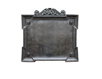 Old Metal Plaque. Blank old metal plaque isolated on white background royalty free stock photo