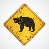 Old metal plate with bear Stock Image