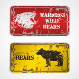 Old metal plate with bear Royalty Free Stock Photo