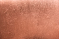 Old metal plate, brushed texture copper, bronze background Stock Photos