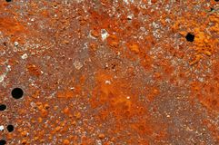 Metal plate with rusty orange surface with holes. Old metal plate with holes and coarse rusty orange surface royalty free stock photography