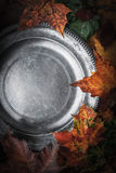 Old metal plate surrounded autumn leaves and pumpkins with film filter effect Stock Image