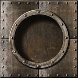 Old metal porthole background Stock Photo