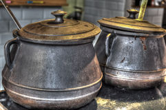 Old metal pots Royalty Free Stock Photo