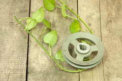 Old metal pulley Stock Images