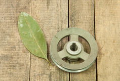 Old metal pulley with haggard Stock Images