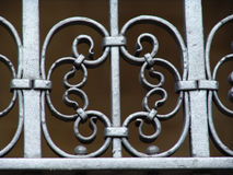 Old metal railing detail. Old wrought iron ornate railing detail stock images