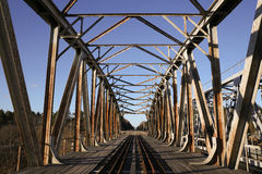 Old metal railroad bridge construction Royalty Free Stock Images