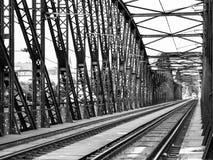 Old metal Railway bridge in Vyton, Prague, Czech Republic. Black and white image Stock Images