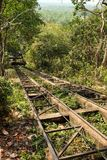 Old metal railway and summer tree royalty free stock photos