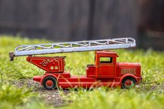 Old metal red fire engine royalty free stock photo