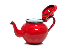 Old metal red tea pot Royalty Free Stock Photography