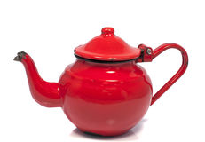 Old metal red teapot Royalty Free Stock Image