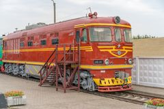 Old metal retro diesel locomotive. stock image