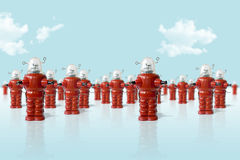 Old metal robots army. Old metal robots toys army Stock Photos