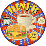 Old metal route 66 diner sign,. Old metal retro route 66 diner sign, grungy style, vector illustration stock illustration