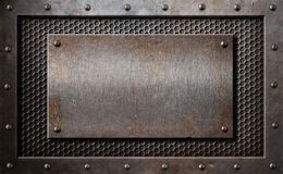 Old metal rusty or rustic plate over comb grid. Old rusty metal plate over comb grid or grille background stock photography