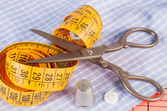 Old Metal Scissors, Tailor Tape Measure and Metal Thimble Stock Photography