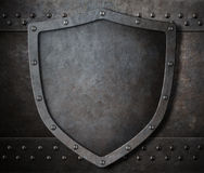 Old metal shield over armour background with rivets 3d illustration Stock Photo