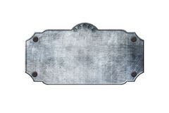 Old metal sign board on isolated white background. Western style. 3d illustration Stock Photo