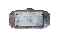 Old metal sign board on isolated white background. Western style. 3d illustration Royalty Free Stock Photo