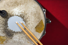 Old Metal Snare Drum with Drumsticks Stock Photos