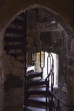 Old Metal Spiral Staircase at Carisbrooke Castle, Newport, the Isle of Wight, England Stock Photo
