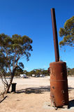 Old metal stove. Nearby roadhouse in Australian outback Stock Images