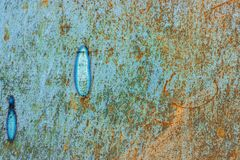 Metal surface with rust and spots, background texture. Old metal surface with rust and spots. background, texture stock photography