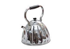 Old metal teapot on white background Royalty Free Stock Images
