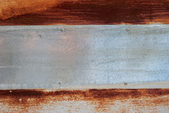Old metal texture with horizontal plank. Background of old rusty metal with scratches are in a paint. Grunge texture royalty free stock images