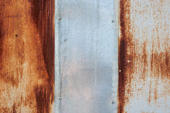 Old metal texture with vertical plank. Background of old rusty metal with scratches are in a paint. Grunge texture Stock Images