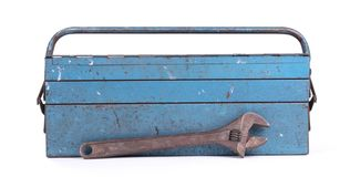 Old metal toolbox stock photography
