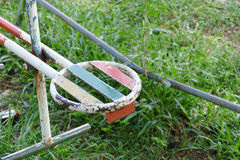 Old metal toy in kid playground. In the park Stock Image