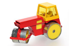 Old metal toy road roller #2. Picture of a old metal road roller with nice red and yellow colour. From my brothers toy collection Stock Image