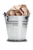 The old metal trash bin with a shadow on a isolated white backgr Stock Photo