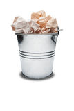 The old metal trash bin with trash and shadow Royalty Free Stock Image