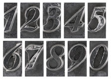 Old metal type numbers. Isolated on white Stock Image