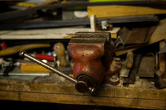 Old metal vice in garage Stock Photos