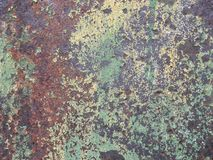 Old metal wall with corrosion and peeling paint stock photography