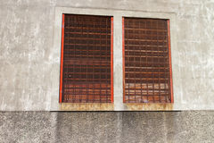 Old metal windows oxidated from a residential building. Old metal windows oxidated in detail Stock Images