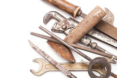 Old metal work hand tools with rust on white. Background royalty free stock photo