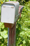 Old metalic mailbox with flag Stock Photography