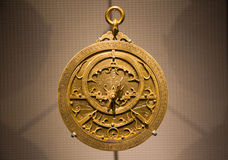 Old metallic Arabic astrolabe close up Stock Photography