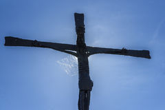 Old Metallic Crucifix in Obanos, Navarre, Spain. Stock Photos