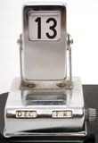 Old metallic desk calendar showing Friday 13th Royalty Free Stock Photo