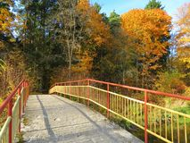 Yellow metallic footbridge and beautiful autumn trees, Lithuania Royalty Free Stock Photo