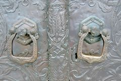Old metallic gates of a church. Color photo taken at Martha and Mary monastery. In Moscow stock photography
