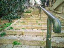 Old metallic handrail close-up photo. Istanbul, Turkey. November 04, 2018 stock photography