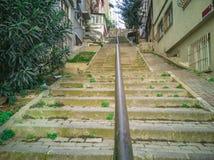Old metallic handrail close-up photo. Istanbul, Turkey. November 04, 2018 stock images